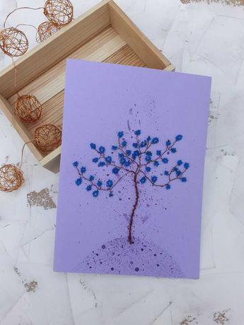 Открытка с бисерным деревом (ручная работа)