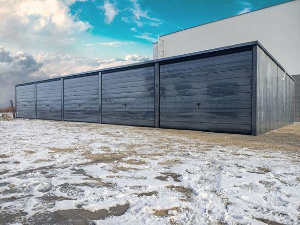 Garaż blaszany szeregowy 15x5 Grafit garaże producent TRANSTAL.COM