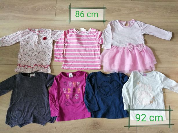 Bluzeczki z długim rękawem dziewczęce 15 szt. Rozm. 86-92 /plus gratis