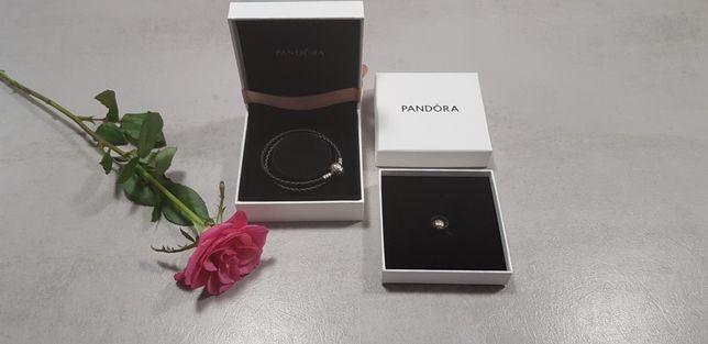 "Pandora klips serce złoto srebro skóra bransoletka podwójna ""17"" Nowe"