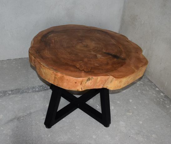 Stolik kawowy z plastra drewna 10cm 87,5x84x59,5cm regulacja