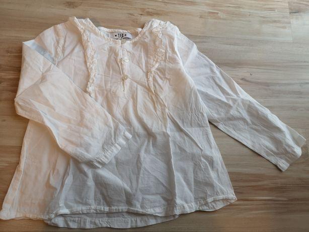 Biała galowa bluzeczka z falbanka rozm. 104/110
