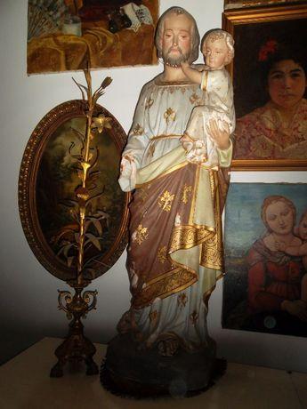 grande antiga escultura-São José em cerâmica policromada-106 cm