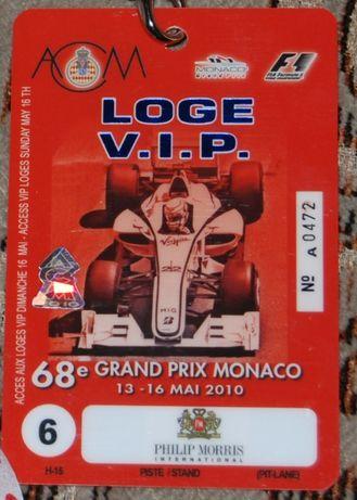 Formuła 1 VIP pass / 68 Grand Prix de Monaco 2010