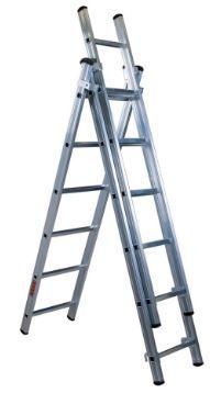 Escada em alumínio 3+3+3 metros degrau quadrado fabrico portugues