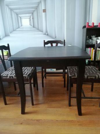 komplet stół rozkładany, 4 krzesła, venge