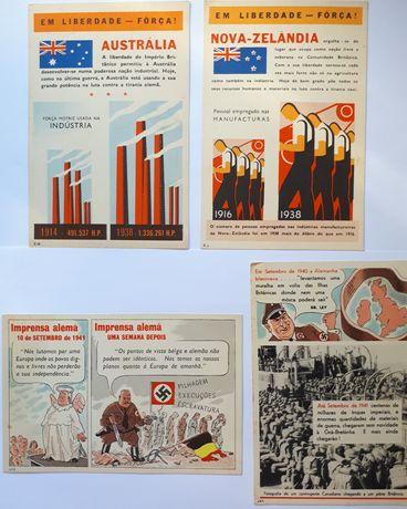 4 postais cores Segunda Guerra Mundial coleção  Aliados Nazis 2GM WW2