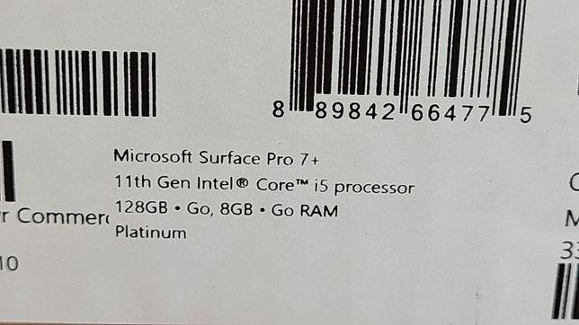 Microsoft Surface Pro 7+ i5 (11Gen) 8gb RAM 128gb SSD platinum