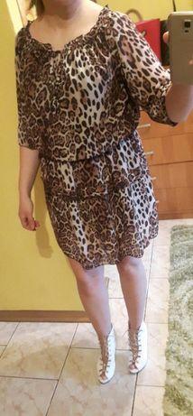 Sukienka luzna rozkloszowana panterka S