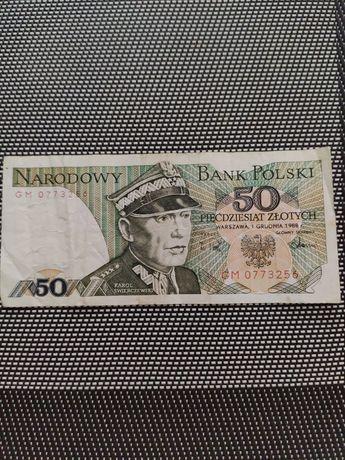 Banknot 50 zł Karol Świerczewski z 1988r.