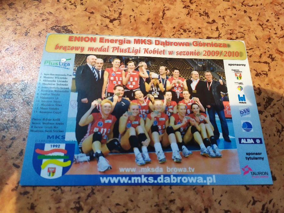 Karta z autografami zawodniczek MKS Dąbrowa Górnicza, siatkówka, 2010