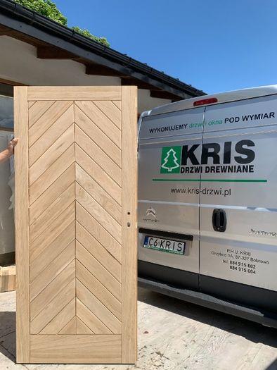 Drzwi zewnętrzne drewniane dębowe jodełka Kris drzwi drewniane