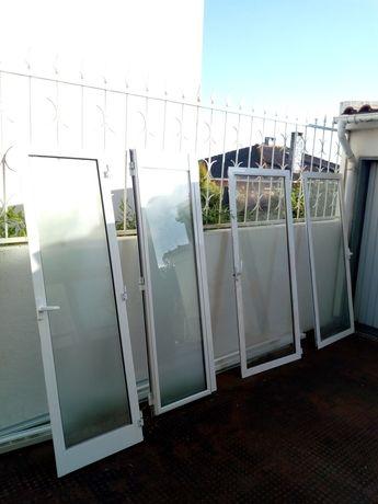 Portas e janelas de alumínio branco vidro duplo são 4 portas 6