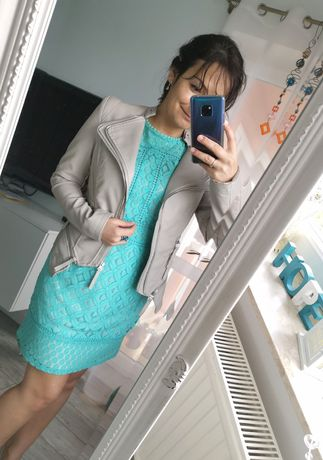 Sukienka Oasis 38 koronkowa turkus