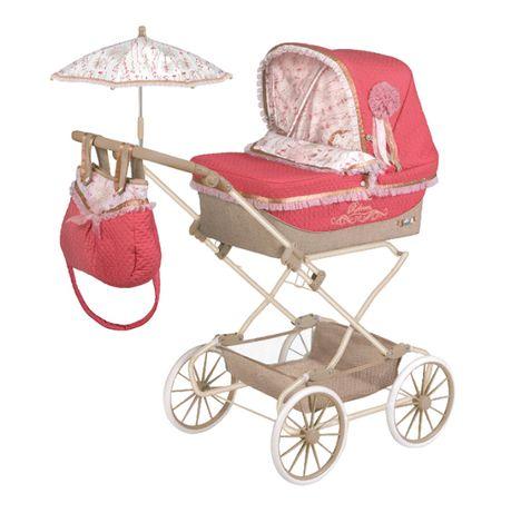 Звоните ! Детская классическая коляска для кукол и пупсов с зонтиком