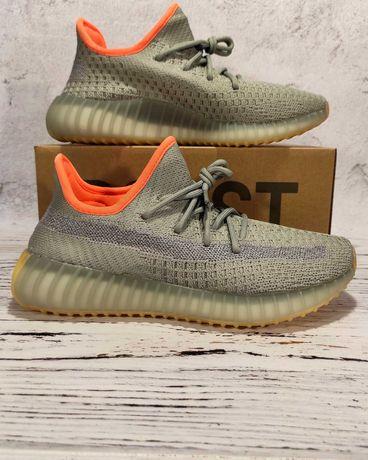 Рефлективные Adidas Yeezy Boost 350 v2 Desert Sage женские кроссовки