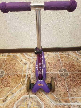 Самокат Mini Micro Deluxe фиолетовый Purple 1-5 лет хорошее состояние