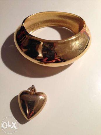 Złota bransoleta + złoty wisior serce