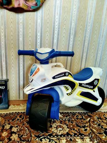 Мотоцикл (толокар) Active baby Police музыкальный бело-синий