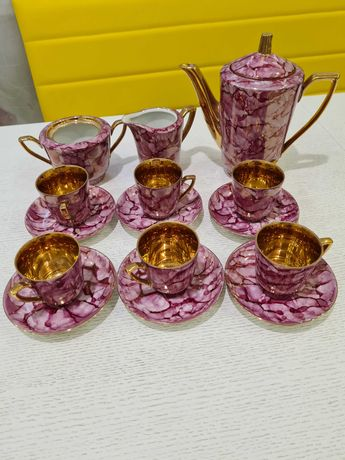 Кофейный сервиз розовый мрамор с золотом Польша 70-е гг