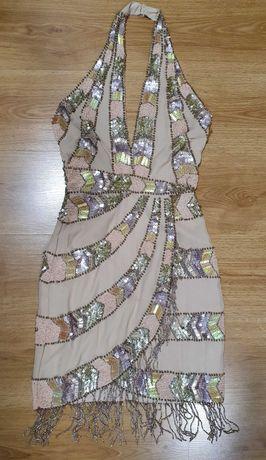 Cekinowa koralikowa nude frędzle sukienka Asos 34 36 na szyję