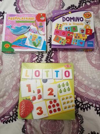 Zestaw zabawek przeplatanki, lotto, domino