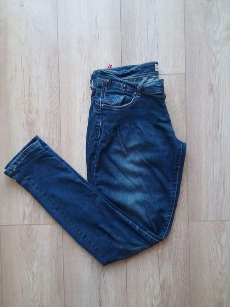 Spodnie jeansy dżinsy rurki niebieskie granatowe damskie modne
