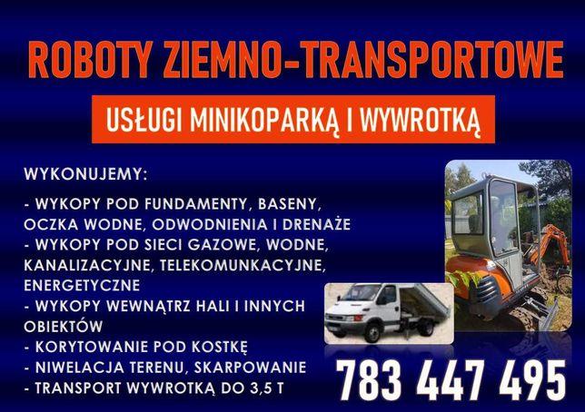 Usługi minikoparka, wywrotka 3,5 t, roboty ziemne