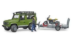 BRUDER 02589 Land Rover z motocyklem Ducati