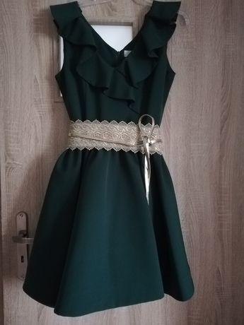 Nowa sukienka koktajlowa w kolorze butelkowej zieleni rozmiar 42