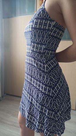Sukienka granatowo-biała H&M