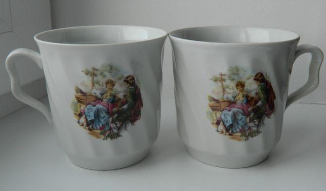 Пара чашек Барановского завода с романтической картинкой подарок