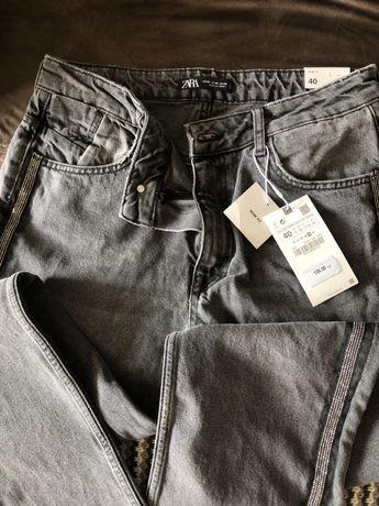 Zara spodnie , czarne,lekko wytarte  jeansy z lampasem, 40!