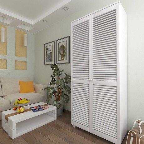 Шкаф с жалюзийными дверями из натурального дерева 900х450х2080 Белый