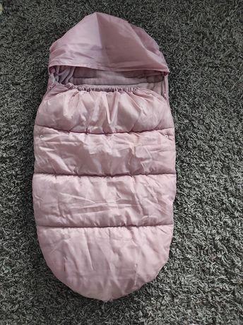 Ciepły śpiworek 100x51 cm gondola spacerówka pudrowy dla dziewczynki