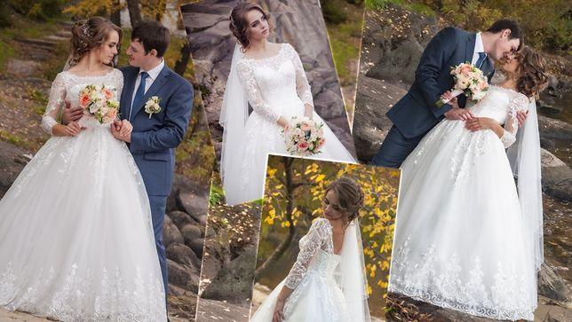 Продам нежное свадебное платье с набивным кружевом