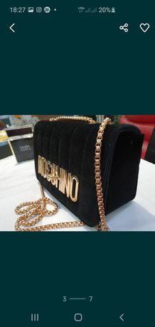 Moschino nowa torebka zamszowa czarna