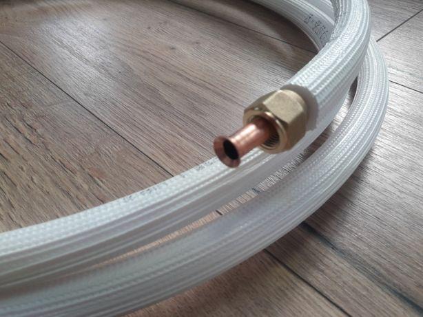 Rura miedziana 1/4 3/8 z nakrętkami rury do klimatyzacji zestaw montaż