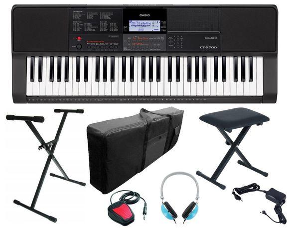 Keyboard Casio CT X700 pakiet Statyw Ława Słuchawki Sustain Pokrowiec
