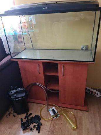 Akwarium 100x50x40, pokrywa, szafka, filtr zewnętrzny