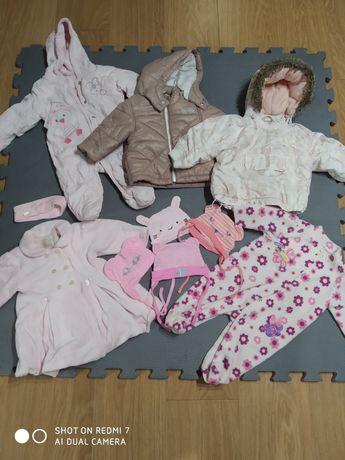 zestaw paka ubranek kombinezon jesień zima dla dziewczynki 62/68