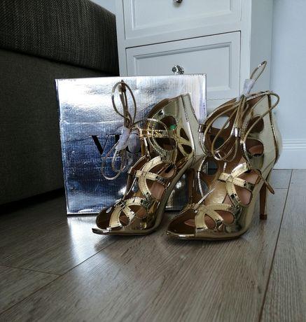 Buty botki złote szpilki wiązane na zamek 36 nowe