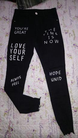 Jeansy spodnie rurki przetarcia M małe L