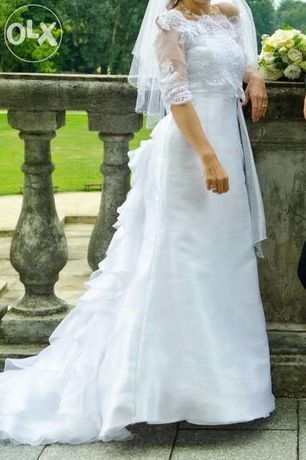 Suknia ślubna biała z trenem + bolerko roz.36-38
