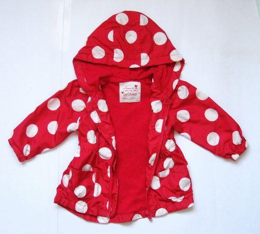 Красный в горох плащ, ветровка, подкладка хлопок, девочке 12-18 мес.