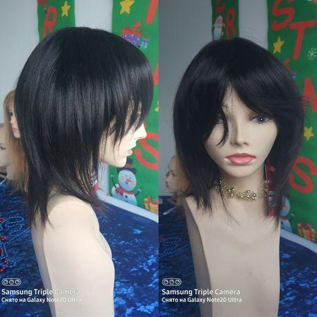 Натуральный парик с чёлкой со славянских чёрных волос