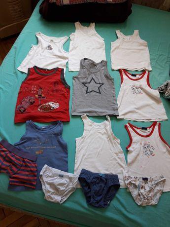 Пакет вещей нижнее бельё майки и трусы на мальчика 98-104;  14 единиц.