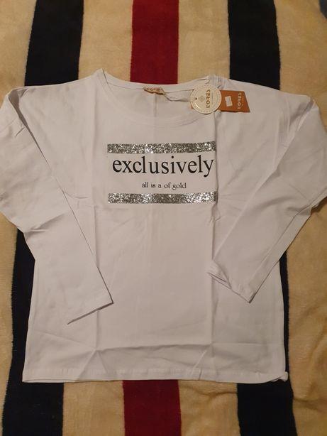 Biała bluzeczka ze srebrnym dodatkiem