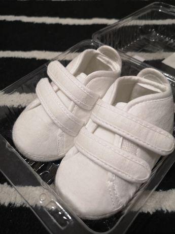 Buciki białe do chrztu 11 cm