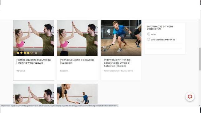 Squash dla dwojga trening z instruktorem Wyjątkowy Prezent voucher